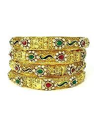 Aria Bollywood Bridal Polki Cz Gold Tone 4pc Bangle Bracelet L28538