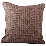 """Meghaavi Brown Print With Rani Pink Piping Cushion Cover (16"""" X 16"""")"""