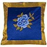 Design Adda Set Of 2 Cushion Covers In Lovely Combination Of Blue And Yellow. Floral Embroidery In The Centre...
