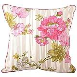 "Meghaavi Pink Roses Large Print Cushion Cover (16"" X 16"")"