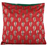 Design Adda Exclusive Cushion Cover Set Of 2 In Pure Brocade With Royal Combinaton Of Red And Green
